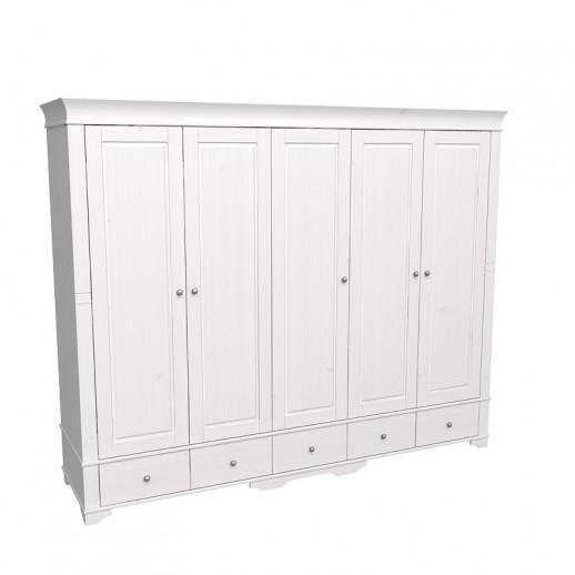 Шкаф 5-ти дверный с 5 глухими дверями Бейли белый воск