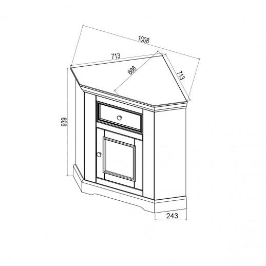 Комод Форест угловой 1 дверь 1 ящик (комод буфета) белый воск/антрацит